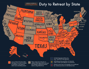 infographic demonstrating USA states where duty of retreat applies