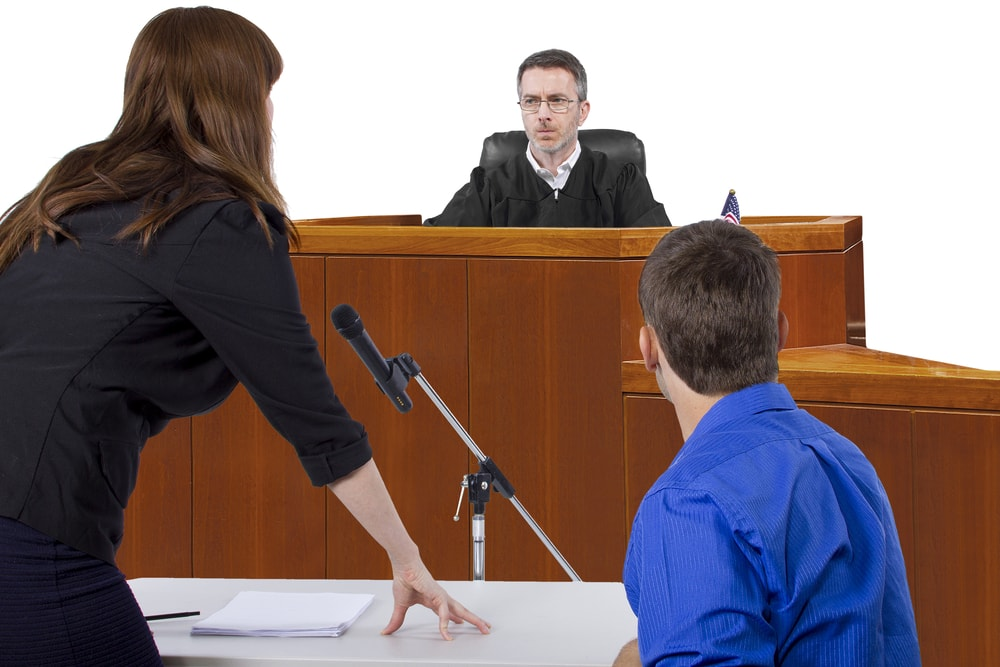 courtroom judge and public defender